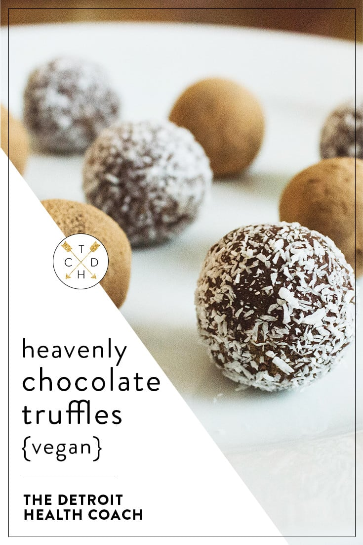 Heavenly Chocolate Truffles | Vegan + Gluten-Free | These are my favorite healthier holiday dessert! Rich, decadent, and soul-shakingly smooth, these truffles melt in your mouth.